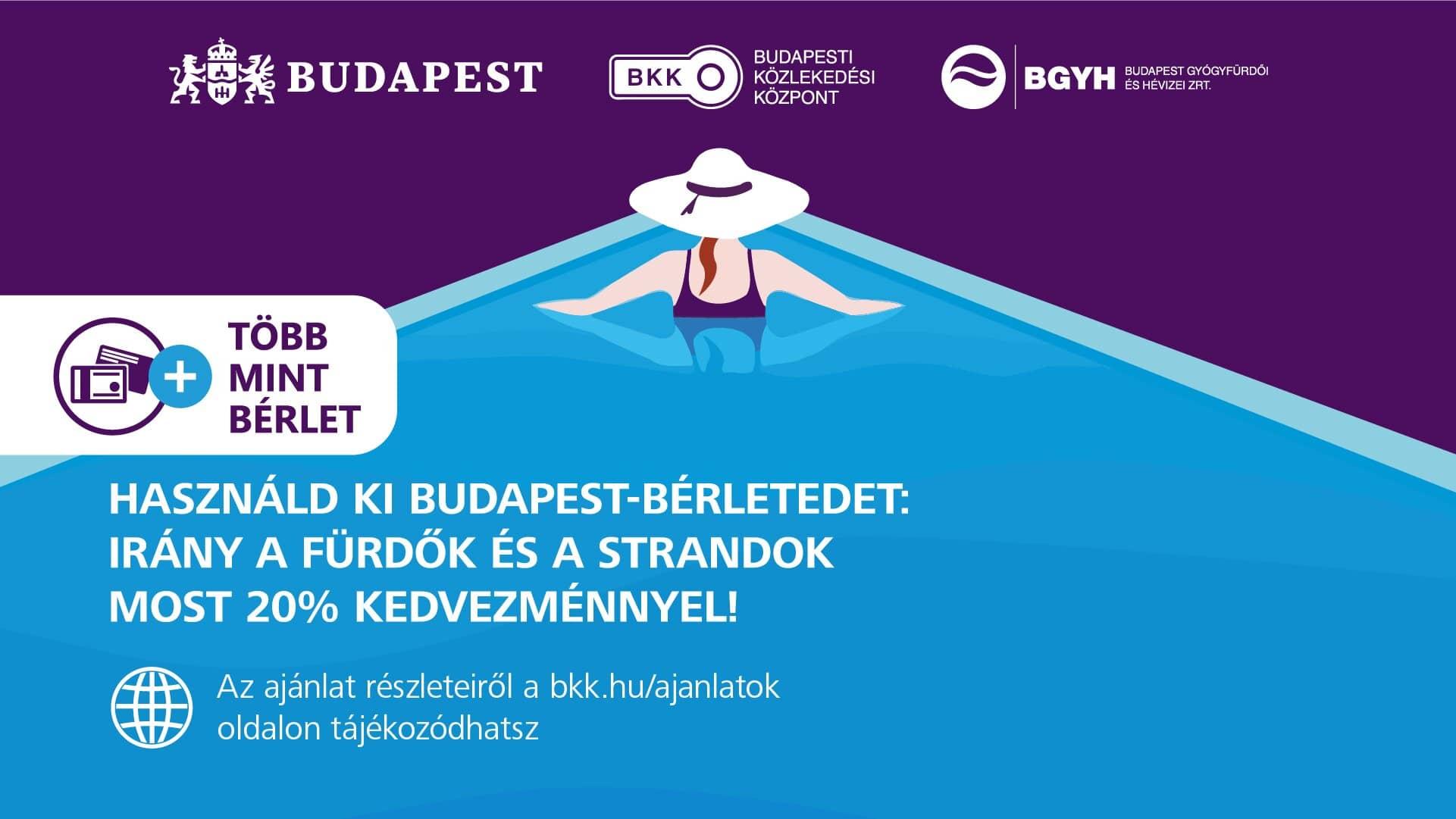 BKK bérlet 20 százalék kedvezmény Budapesti fürdők online jegyvásárlás