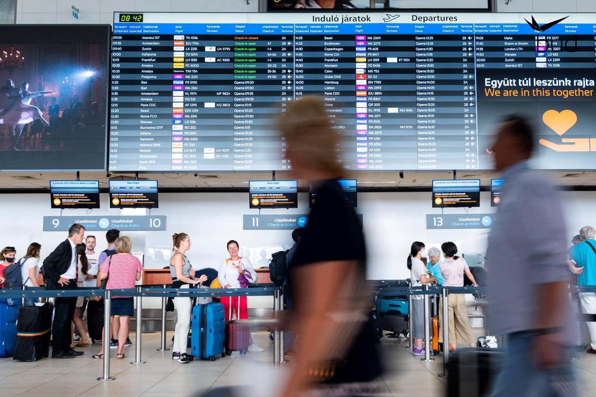 Budapest Liszt Ferenc Nemzetközi Repülőtér utasforgalom 2021 fél év