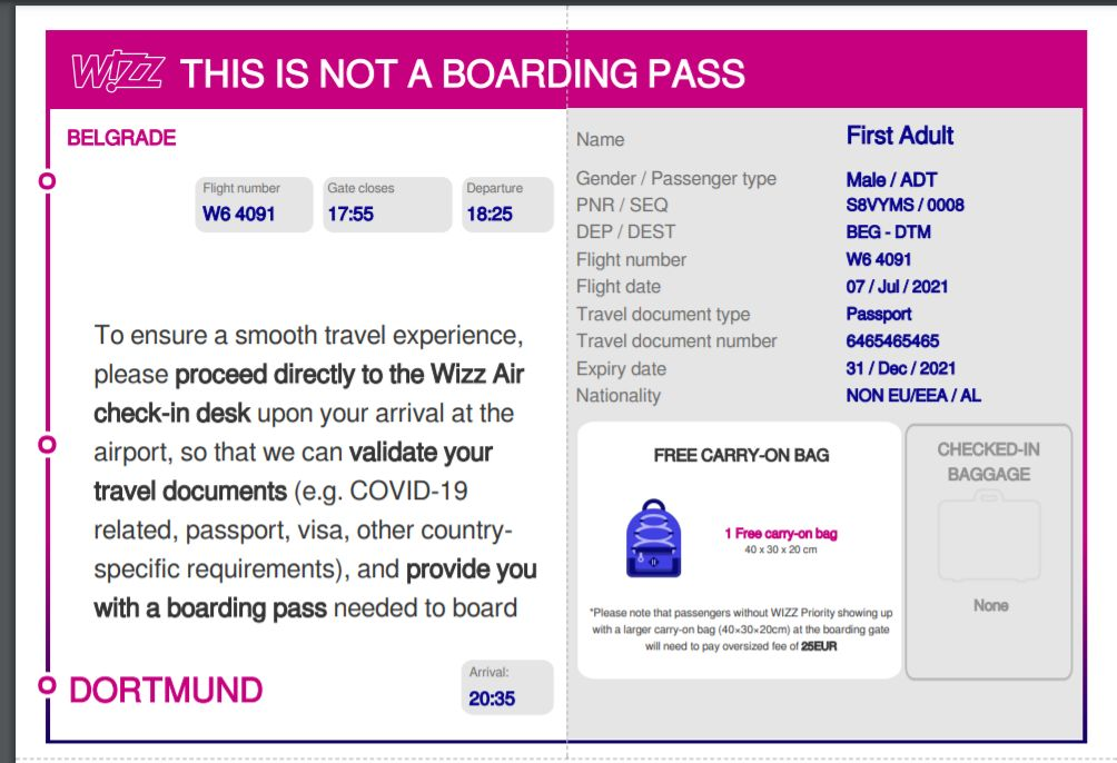 Online check-in wizz érvénytelen beszállókártya